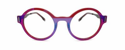 Monture ronde Glossi – Rouge translucide et reflets irisés