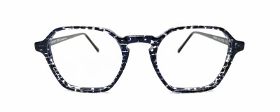 Monture hexagonale Lafont – Unisexe – Bleu avec détails transparents