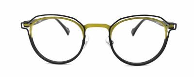 Monture ronde JF Rey – Unisexe – Noir et vert-jaune