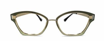Monture oeil-de-chat Glossi – Plastique vert olive et métal or