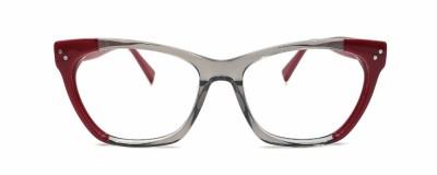 Monture œil-de-chat – Gris transparent et pointe rouge