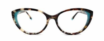 Monture œil-de-chat – Tortoise asymétrique et turquoise