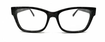 Monture oeil-de-chat - Plastique noir avec effet marbré