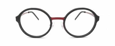 Monture ronde Derapage - Homme - Plastique texturé gris avec métal rouge