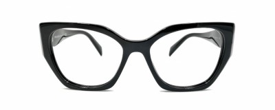Monture oeil-de-chat Prada - Plastique noir avec angles
