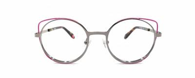 Monture ronde JF Rey Petite - Métal argent avec pointes roses